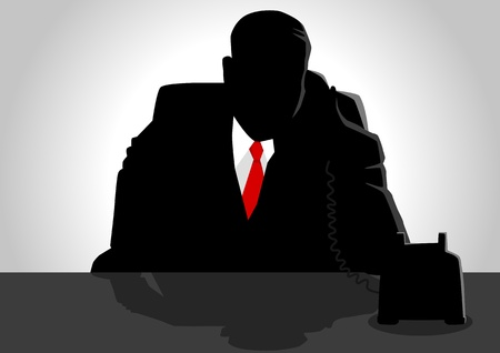 Silhouette illustration of a man figure using a telephone