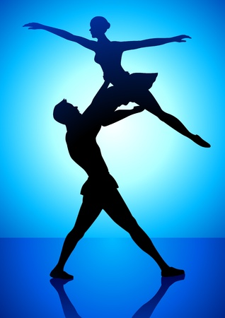 couple dating: Silhouette illustration of a couple dancing ballet
