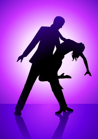 salsa dancer: Silhouette illustration of a couple dancing