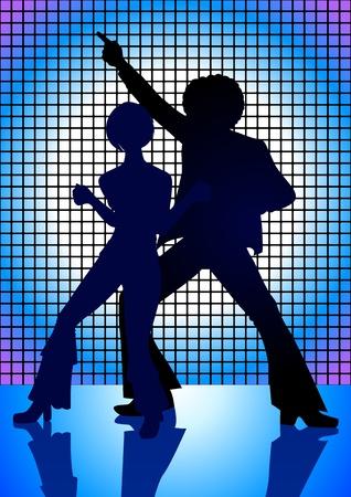 Illustrazione sagoma di coppia di danza sul pavimento negli anni '70 Vettoriali