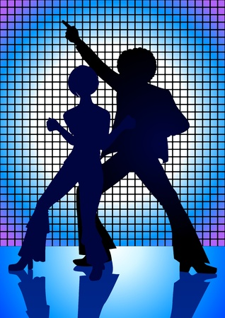 Silhouette Illustration of couple dancing on the floor in the 70s Vector