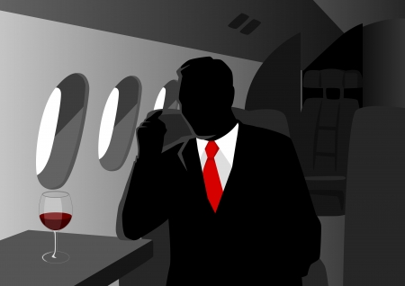 Silhouette illustration of an executive on private jet  Vector