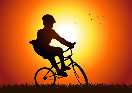 Silhouette illustration of a boy riding a bicycle  Stock Vector - 11131664