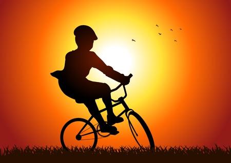bicicleta: Silueta de ilustración de un niño en bicicleta