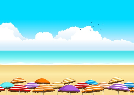 tropical beach panoramic: Vector illustration of parasols at the beach