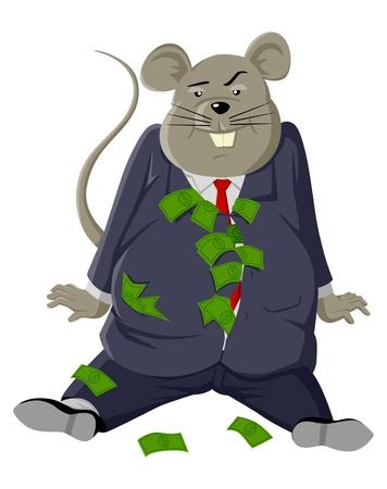 corrupcion: Ilustración de dibujos animados de una rata gorda con un montón de dinero Vectores