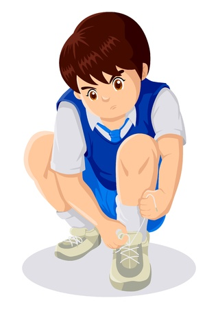 Cartoon illustration of child tying shoelaces  Иллюстрация