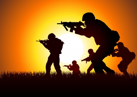 armed: Silhouette illustration of a group of soldiers in assault formation Illustration