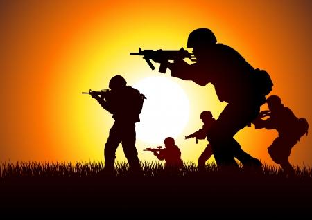 Silueta de ilustración de un grupo de soldados en la formación de asalto