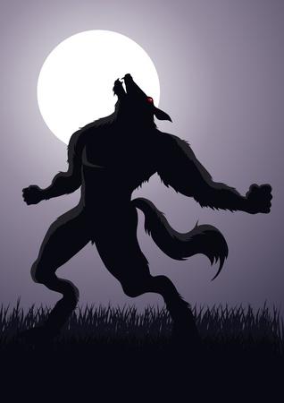 loup garou: Vecteur Banque d'un loup-garou à la pleine lune Illustration
