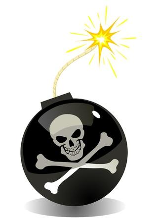 Illustratie van een bom met Jolly Roger symbool Vector Illustratie