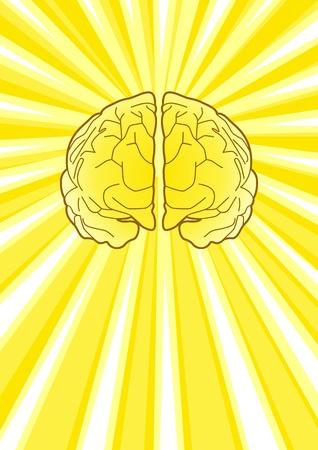 Illustratie van een brein met een uitbarsting van licht als de achtergrond