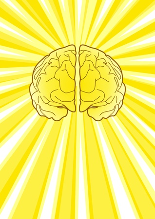 Illustration of a brain with burst of light as the background Vector
