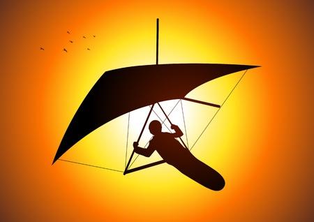 parapente: Silhouet afbeelding van een man figuur zweefvliegen Stock Illustratie