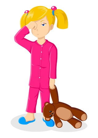 Illustration of a sleepy little girl holding a teddy bear