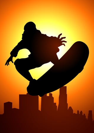 naughty child: Silhouette illustration of a skateboarder