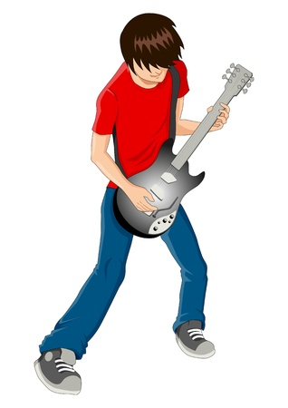 guitarist: Vector illustration of a man figure playing guitar
