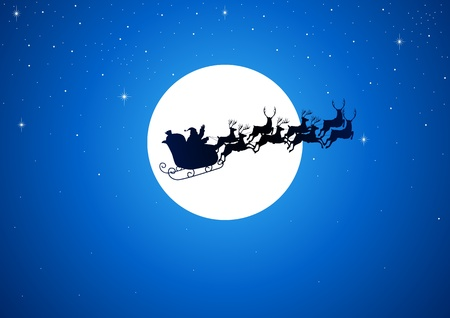 reindeers: Santa Claus riding his sleigh over the moon