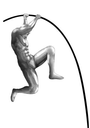 metal pole: Pole vault chromeman athlete