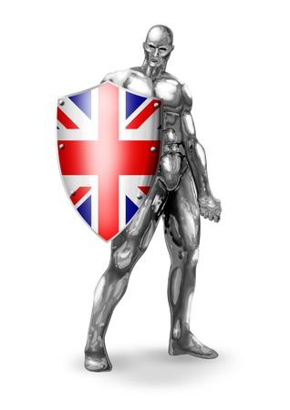 robot with shield: A chromeman holding a shield of United Kingdom flag