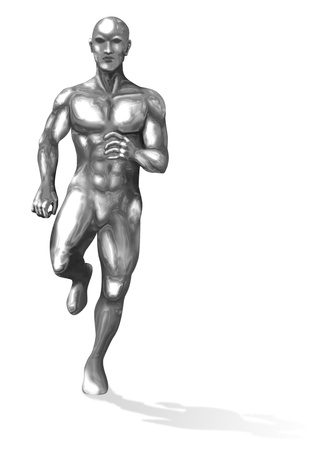 Illustration of a running chromeman illustration