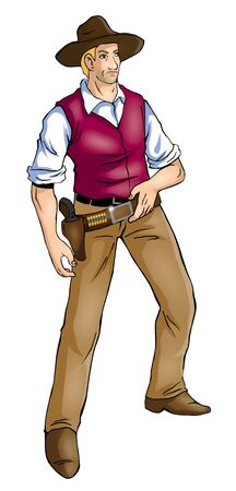 Illustration of a cowboy with photoshop tracing path included Stock Photo
