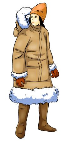 eskimo woman: A human figure in fur jacket with photoshop tracing path included Stock Photo