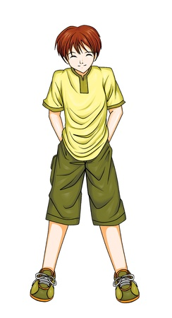 Illustration of a boy in anime style, photoshop tracing path included Stock Illustration - 11376481