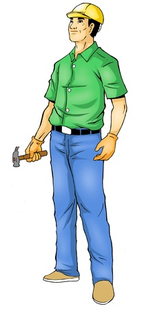 Illustration of a construction worker, photoshop tracing path included illustration