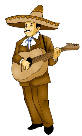 Illustration of a Mexican musician, photoshop tracing path included