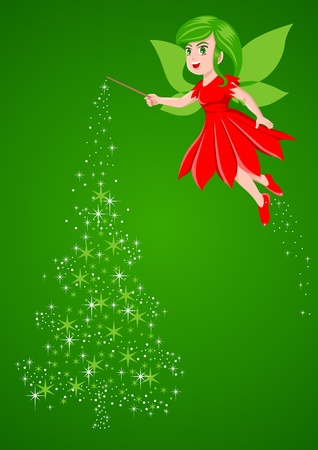 pixie: Vector illustration of a pixie making a Christmas tree