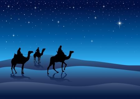 reyes magos: Silueta de ilustración de los Reyes Magos de Oriente Vectores