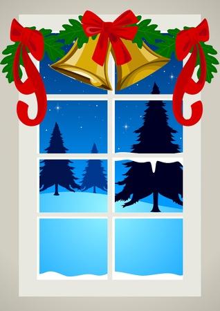 vista ventana: Ilustraci�n vectorial de una ventana con la decoraci�n de Navidad Vectores
