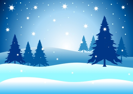 night time: Vector illustration of pine trees on snowy hills  Illustration