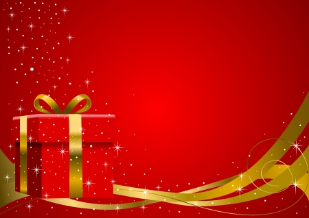 festive occasions: Ilustraci�n vectorial de una caja de regalo con cinta de oro