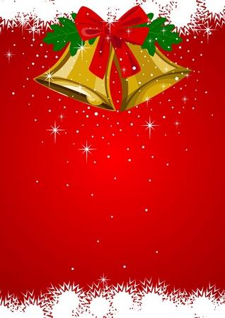 festive occasions: Ilustraci�n de las campanas de Navidad con el ornamento del copo de nieve