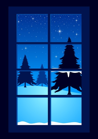 warm house: Vector illustration of pine trees seen through the window in wintertime