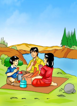 family outside: Illustration of a family having a picnic at riverside