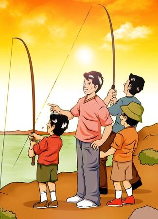 Ilustración de la gente pescando en la orilla del río Foto de archivo - 11703438