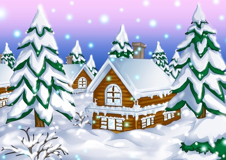 Illustration of houses during wintertime illustration