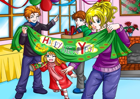Illustration of a happy family preparing to welcome the new year illustration