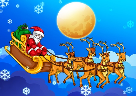 Illustration of Santa Claus riding his sleigh illustration
