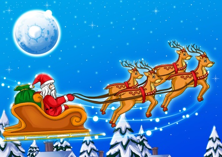moments: Illustration of Santa Claus riding his sleigh Stock Photo