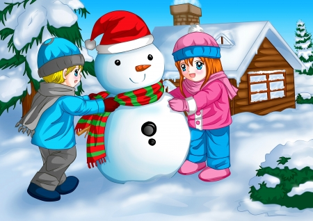 Illustration of children with a snowman illustration
