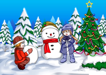 Illustration of children with a snowman Stock Photo