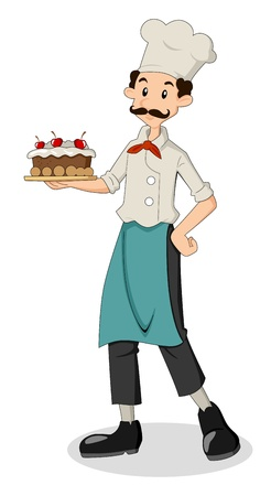 Cartoon illustration of a chef holding a cake