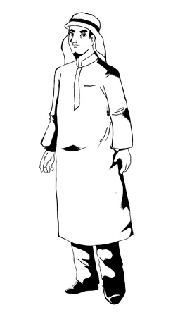 robe: Outlined illustration of man figure with typical Arab clothes