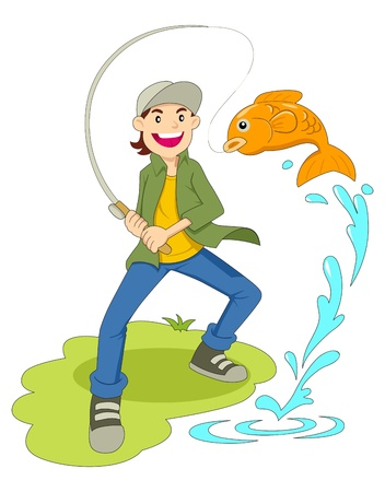 on the hook: Cartoon illustration of a man fishing