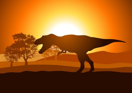 dinosaur animal: Silhouette illustration of Tyrannosaurus  Illustration