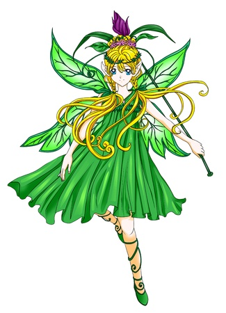 manga girl: Fantasy illustration of a pixie Stock Photo